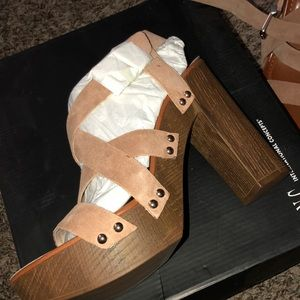 Size 9.5 INC wood heels New in Box